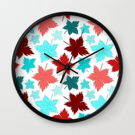 Maple Leaves - Colorful Bright Pattern Wall Clock