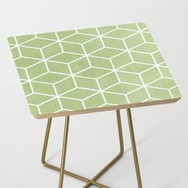 Lime Green and White - Geometric Textured Cube Design Side Table