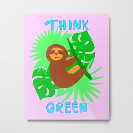 Think green. Environment protection activism. Sloth on a tree, monstera leaves. Tropical rainforest. Metal Print