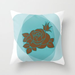 Brown and Turquoise Rose Throw Pillow