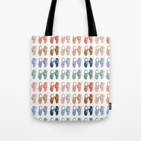 nike Tote Bags featuring Colored Nike sneakers illustration by Rocio P. Vigne