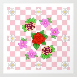 Pixel Flower Pattern Art Print