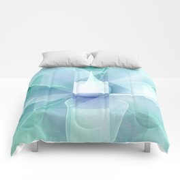 Soft Geo Agave - Aqua and blue Comforters