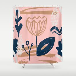 Abstract Leaves and Flowers IV Shower Curtain
