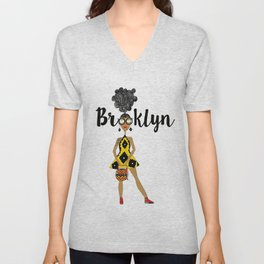 curly hair has Brooklyn Glasses Unisex V-Neck