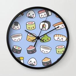 Happy kawaii sushi pattern Wall Clock