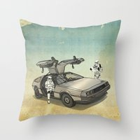 anaconda Throw Pillows featuring Lost, searching for the DeathStarr _ 2 Stormtrooopers in a DeLorean  by Vin Zzep