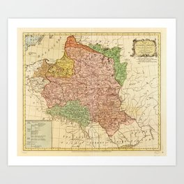 Kingdom of Poland and the Grand Dutchy of Lithuania Map (circa 1770) Art Print