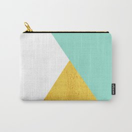 Gold & Aqua Blue Geometry Carry-All Pouch