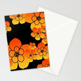 Blossoms Flowers orange - black Stationery Cards