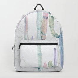 Cactus Trio on Marble Turquoise Purple by Nature Magick Backpack