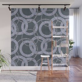 Abstract pattern circles on the grey background. Wall Mural