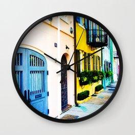 Rainbow Row Wall Clock