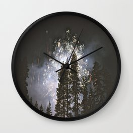 Fireworks In the night sky Wall Clock