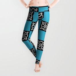 blue and black pattern Leggings