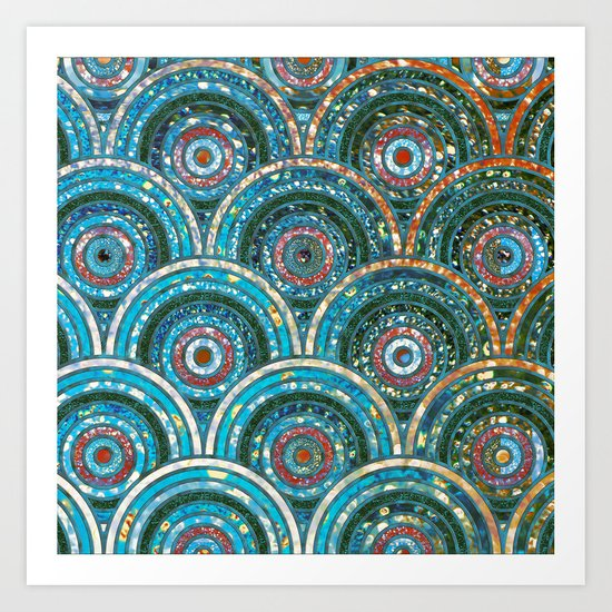 Aqua Teal Blue and Green Sparkling Faux Glitter Circles and Dots Art Print