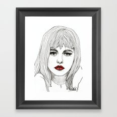 Patsy with Red Lips Framed Art Print