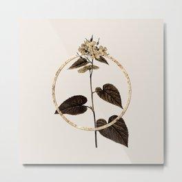 Gold Ring Morning Glory Flower Glitter Botanical Illustration Metal Print