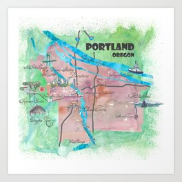 Portland Oregon Travel Poster Map with Touristic Highlights Art Print