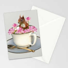 Coffee Cup Squirrel with Lotus Flowers Stationery Cards