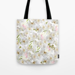 Elegant white orchid blush pink watercolor floral Tote Bag