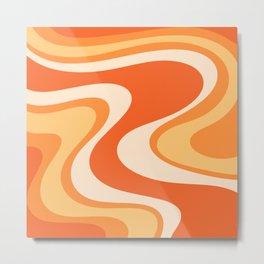 Tangerine Wave Machine - Retro Orange Abstract Metal Print