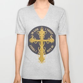 Golden cross with ornaments Unisex V-Neck