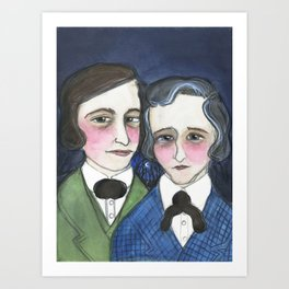 A Moonlit Tale of Grimm, Victorian Writers Portrait, The Brothers Grimm Portrait Art Print