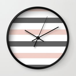 Grey and Pink Stripes Wall Clock