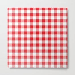 Small Red & White Vichy Metal Print