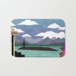 Bangor, WA - Retro Submarine Travel Poster Bath Mat