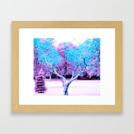 Turquoise Lavender Fantasy Landscape Framed Art Print