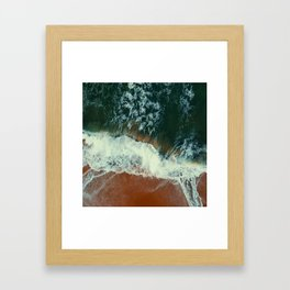 aerial view of seashore at daytime Framed Art Print