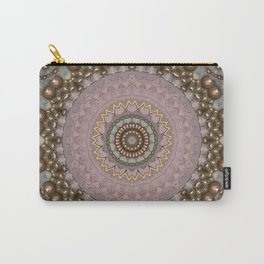 Antique Rose Beaded Mandala Design Carry-All Pouch