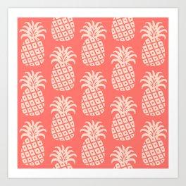 Retro Mid Century Modern Pineapple Pattern Coral 2 Art Print
