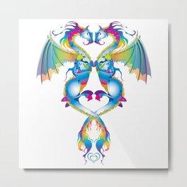 Rainbow Love Dragons Metal Print
