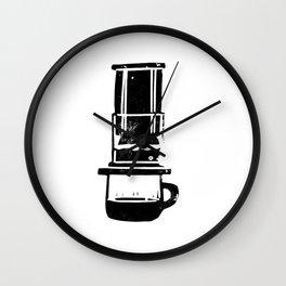 Aeropress linocut black and white minimal coffee art printmaking design Wall Clock