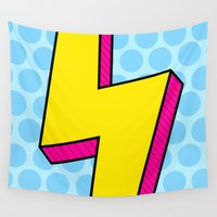 lightning Wall Tapestries featuring Lightning Pop by The Wellington Boot
