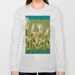 Teal Color Ivory Calla Lilies Garden Art Long Sleeve T-shirt