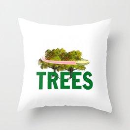 Splittin' Trees Funny Disc Golf Throw Pillow