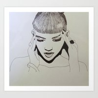 grimes Art Prints featuring Grimes by NikkiMaths