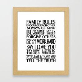 Family Rules 2 Framed Art Print