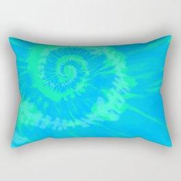 Tie dye neon blue Rectangular Pillow
