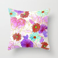 oriental Throw Pillows featuring Oriental blossom by Federico Faggion