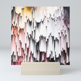 White Black Mauve Cascade Abstract Mini Art Print