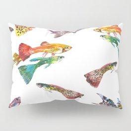 Tropical Colors, Guppy Aquarium Fish , Aquarium Art Underwater Pillow Sham