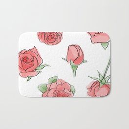 Watercolor Roses Bath Mat