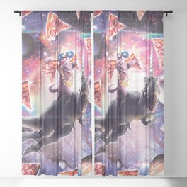 Thug Space Cat On Dinosaur Unicorn - Pizza Sheer Curtain