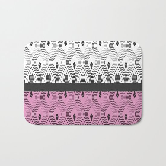 Art Deco 55 . White black and pink textures . Bath Mat