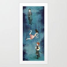 Falling through time Art Print